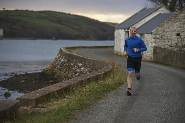 Jimmy Lawlor running near his home in Kilmeena
