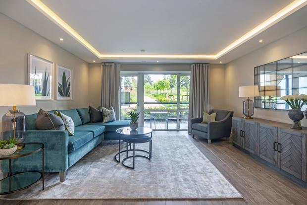 The centrepiece of the living area is a decorative feature ceiling with LED cove lighting