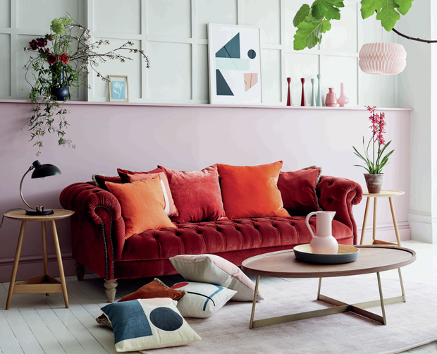 The new way to try the trend: A melange of terracotta tones works well on the Palace four-seater sofa, €2,329, at dfs.ie