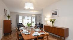 The dining room joins the kitchen to the living room at An Tearmann, Palmerstown, Dublin 20.