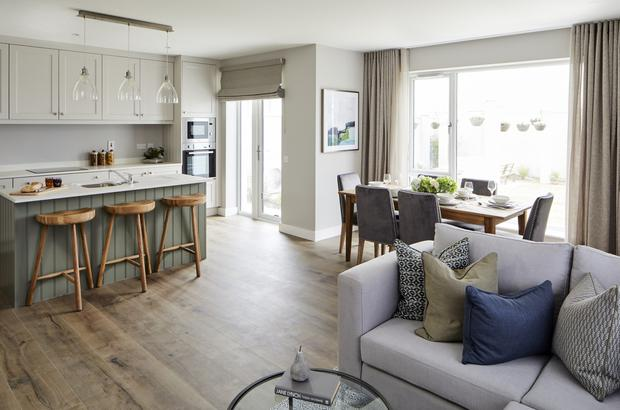 The open-plan kitchen/dining/living room at An Fuarán, Oranmore, Co Galway