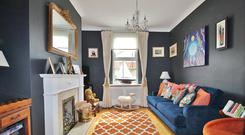 The front lounge is painted in a midnight blue