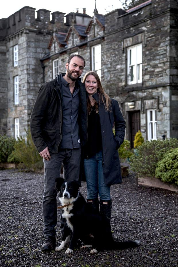 Justin Cocharne-Townshend and Sharon Poulter outside The Castle