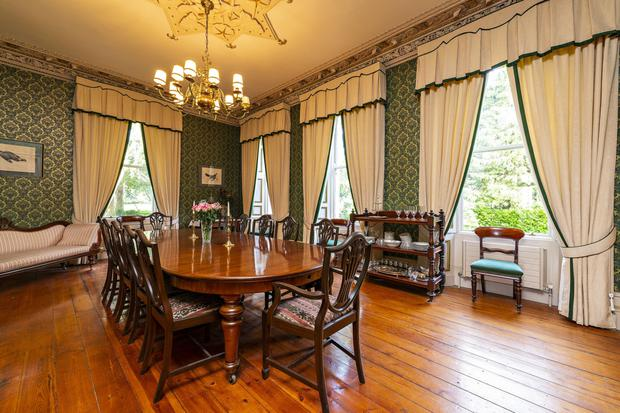 The dining room features a unique centre rose