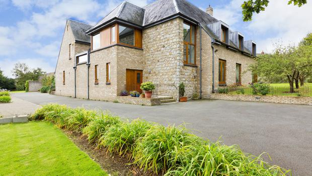 The exterior of the property which is finished in Belgian brick and Wicklow granite