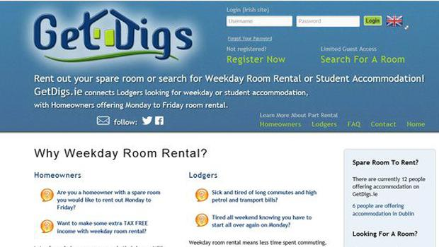 GetDigs.ie is one of the websites to help people find accommodation.