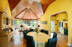The open-plan dining area and living room