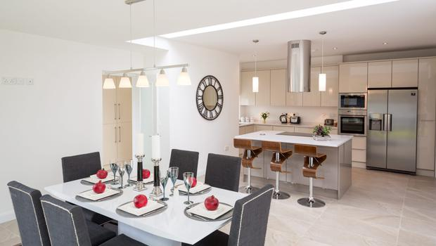 The open-plan kitchen/dining area