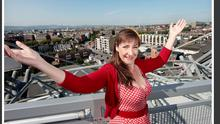 Actress Pauline McGlynn pictured on Croke Park Skywalk at the launch of the Phibsborough Community Arts Festival programme of events for Phizzfest