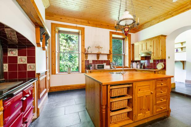 The kitchen with the large breakfast bar