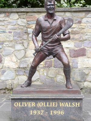 A statue of hurler Ollie Walsh