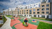 Rebuilt complex: The communal area and playground at the New Priory development