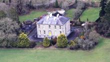 An aerial view of the house which sits on four acres.