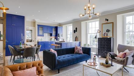 The open-plan living room, dining area and kitchen of No4 Prospect House in Blackrock, Co Dublin