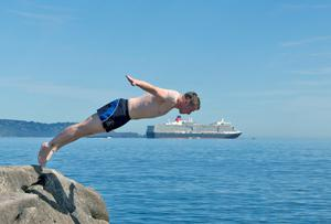 Diving into the water at Dun Laoghaire harbour