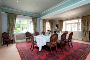 The dining room with double doors.