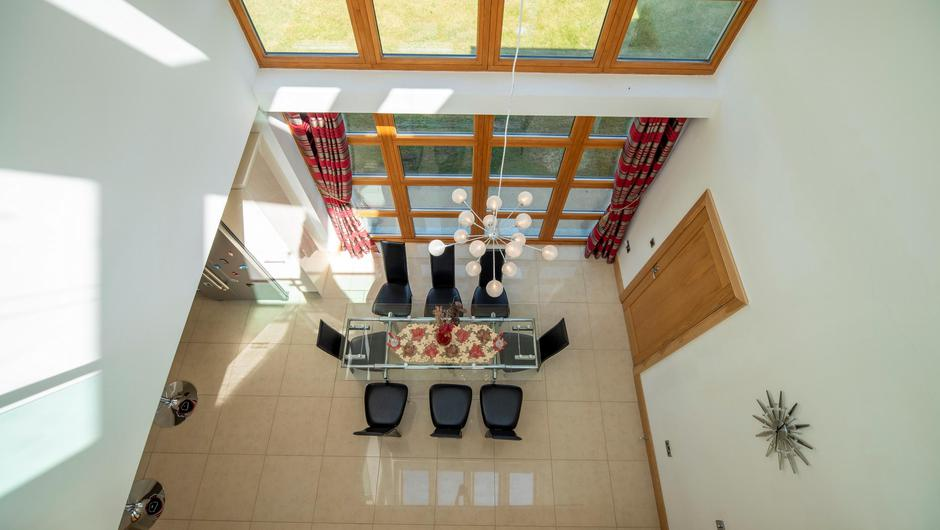 A view of the dining room from the mezzanine