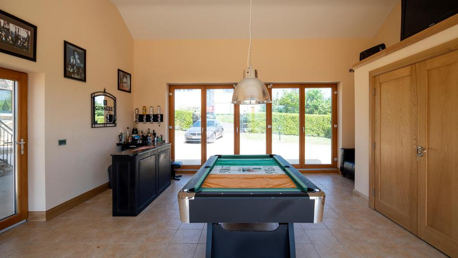 The home bar and games room
