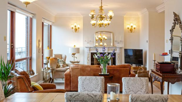 The open-plan living/dining room of Penthouse 1 in Killiney, which spans 2,397 sq ft and is more than twice the size of an average three-bed semi