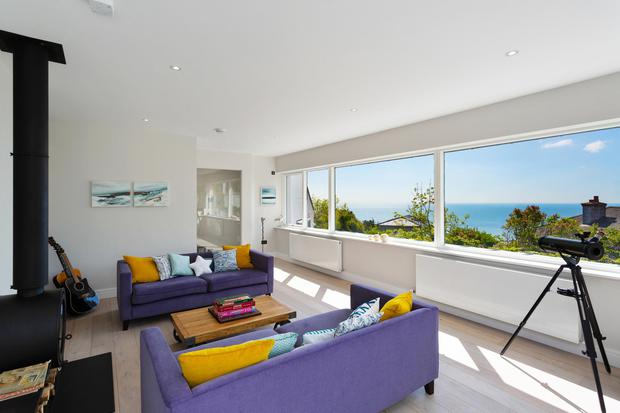 The family room with sea views