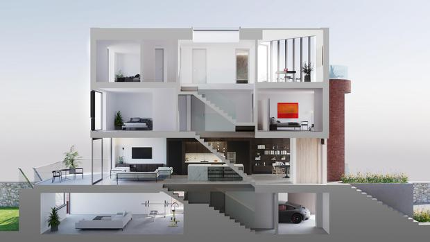 A cross section of the house designs