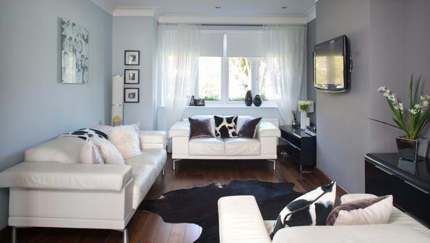 The bright living room is floored in ash and the grey walls are a soft backdrop to the black-and-white furniture