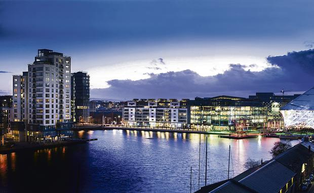 A view of the Millennium Tower at Grand Canal Basin, in Dublin's docklands. The penthouse consists of the top two floors. The apartment was sold for €802,000 in the summer and now commands €4,000 per month in rent.