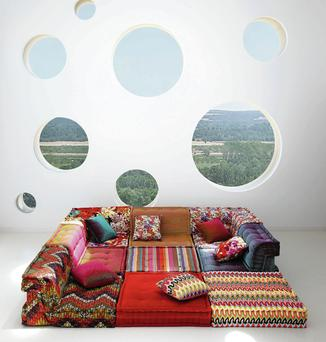 The Roche Bobois cushions start from €650 and a seat with back costs around €1,300