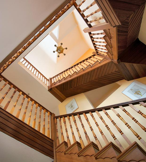 The timber staircase at 7 Pear Tree Field, Blackrock