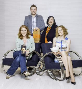 L to R: Tara Hammond of Slated, Pearse Caulfield of Caulfield Country Boards, Vivien Walsh Jewellery Designer & Chloe Dowds of Chloe Dowds Ceramics pictured at the launch of the fifth year of Create at Brown Thomas,showcasing 65 Irish designers across craft, fashion and accessories which