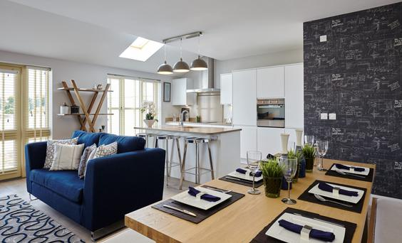 A large open-plan kitchen/dining/living room spans the entire width at the rear of most of these houses