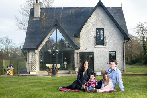 Laura and John Cunningham on the lawn at Vesington Wood with their children Mark and Katherine. Photo: Tony Gavin