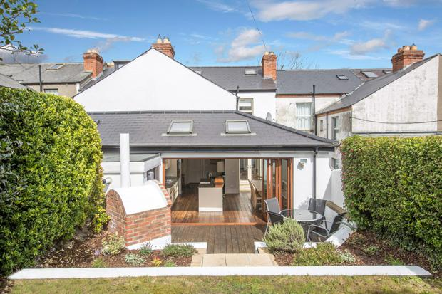 The impressive terraced rear garden with sundeck at 20 Hollybank Road, Drumcondra, Dublin.