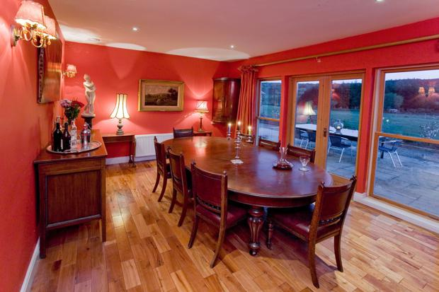 Rich red dining room