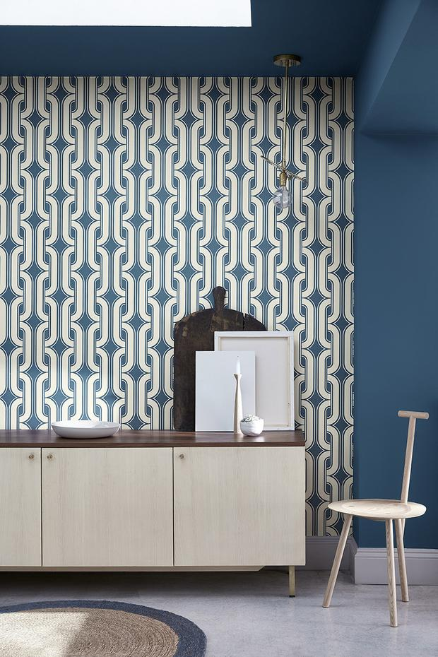 From a French book published in 1975, this iconic seventies print existed in two colours. Now reworked into contemporary wallpaper and available in eight colours, the Lavaliers Low Wave from Little Greene is a modern take on a seventies spirit. €76 per roll; littlegreene.ie