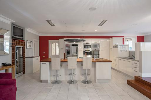 The large kitchen is the focal point of the house