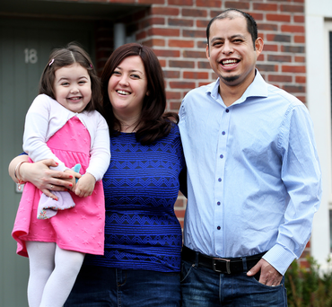 Jenny and Victor Walsh Salmoran with their daughter Ellie (3) at their home in Parkside. Photo: Steve Humphreys