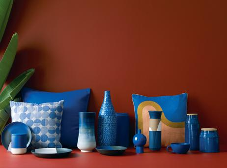 Habitat has true blues popping against warm tones for an elegant updated take on the '80s