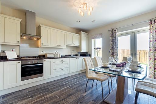 The spacious dining room in the three-bed offering at Cuil Duin