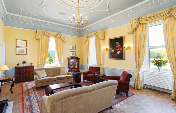 The house has a grand sitting room.