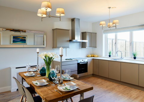 The spacious fitted kitchens come with electrical appliances.