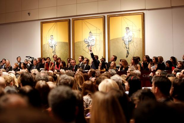 A traditional auction at Christie's New York last November for the 1969 painting by Francis Bacon, 'Three Studies of Lucien Freud', the Irish artist sold for US$142m, a record for the most expensive artwork ever sold