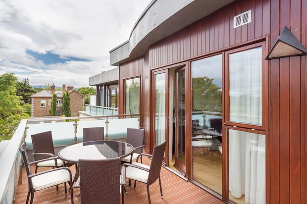 The sun terrace which extends from the master bedroom