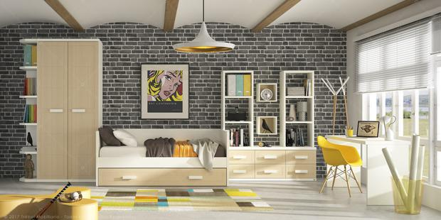 Youthful room scheme by Spanish furniture company Trébol Mobiliario at this year's Salone del Mobile show in Milan