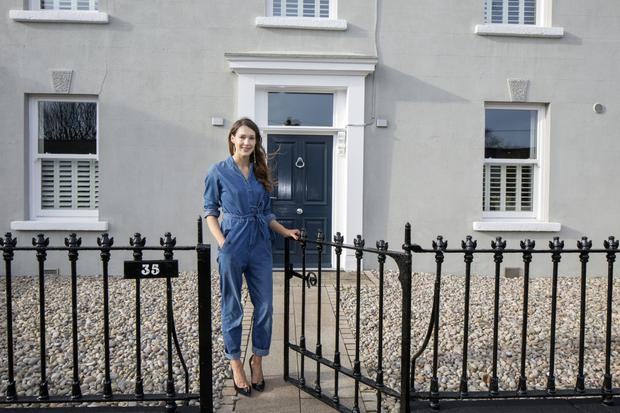 Kerry Hiddlestone outside the double-fronted 150-year-old house, which she and her husband Patrick O'Grady bought in a terrible state in 2010. Photo: Tony Gavin