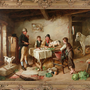 One of two paintings by British artist Charles Hunt, 'Irish cottage interior with figures and animals'