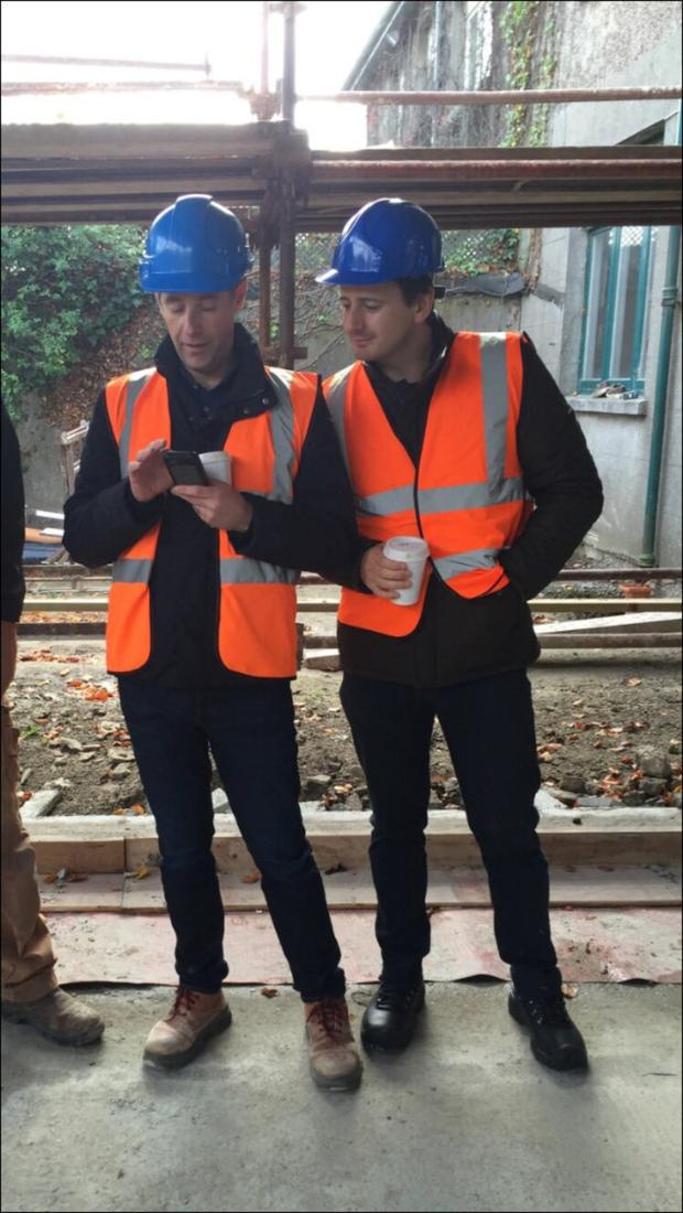 Dermot Bannon and Ian Callaghan on site