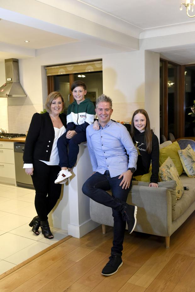Quenton McGrath and Jennifer Burke with their kids at their Artane, D5 home.Pic. Bryan Meade