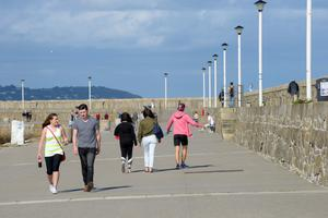 Taking a stroll along the pier in Dun Laoghaire