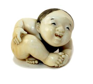 A Japanese Meiji period (1868-1912) ivory netsuke of a crawling infant sold in July for €2,100